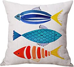 JES&MEDIS Linen Cotton Print Square Decorative Throw Pillow Case Cushion Cover for Bed Couch Car 18 x 18 Inches