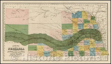 Historic Map - Map of Nebraska Showing The Union Pacific Railroad Land Grant, 1881, Augustus Gast - Vintage Wall Art 76in x 44in