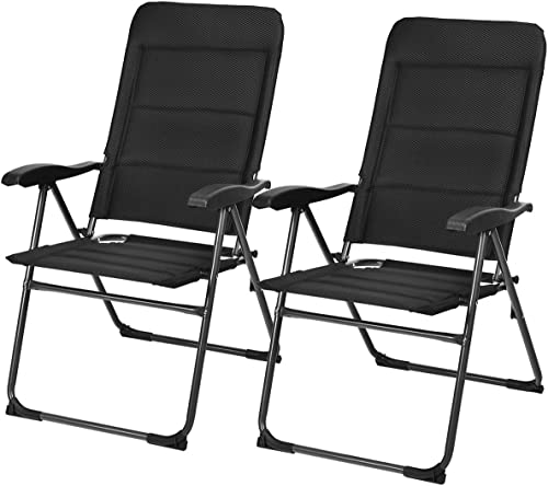 high quality Giantex Set of high quality 2 Patio Chairs, online sale Folding Chairs with Adjustable Backrest, Outdoor Sling Chairs for Bistro, Deck, Backyard, Armchair with Padded Seat, 300 lbs Capacity (2, Black) online