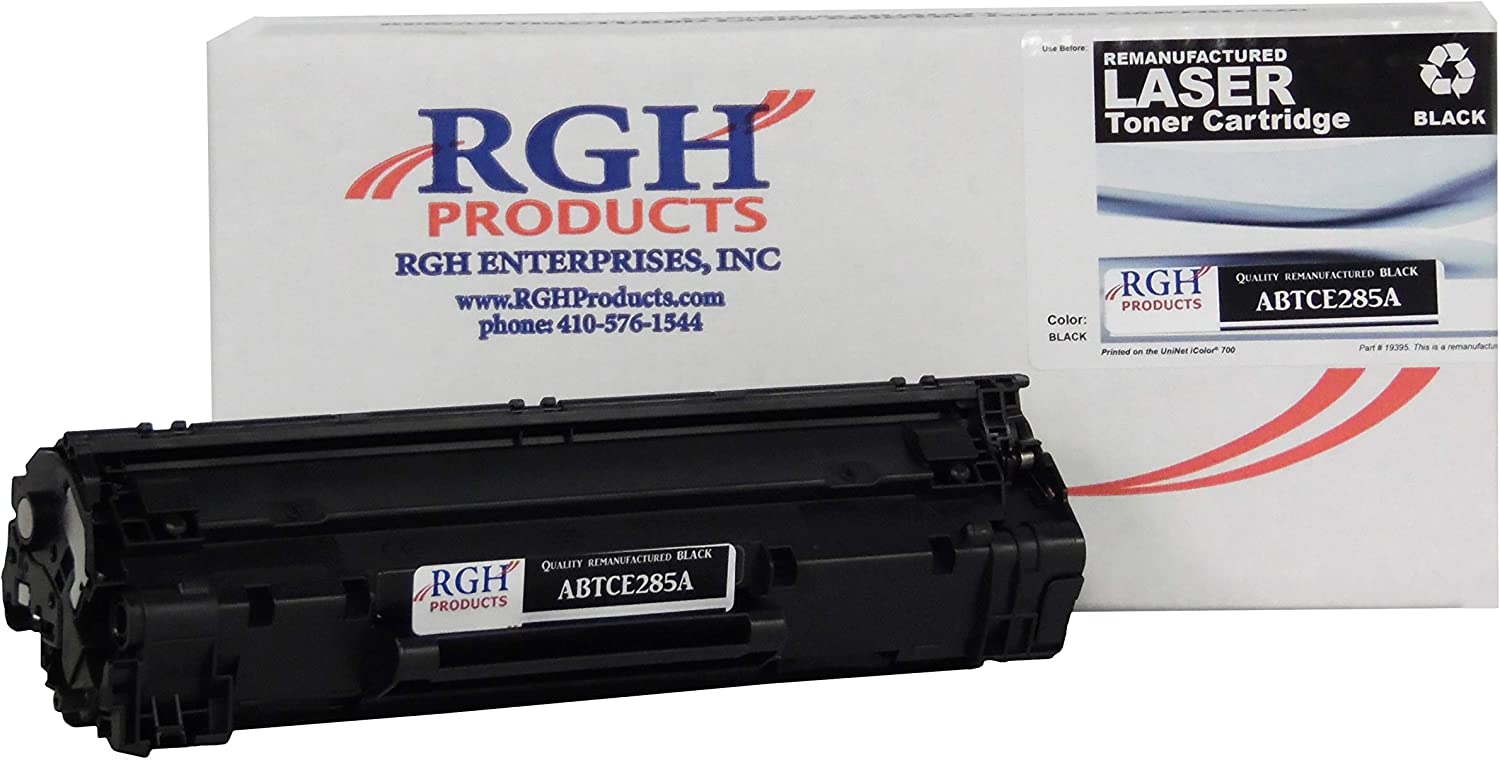 RGH Products Remanufactured Toner Cartridge ABTCE285A Tray Toner Cartridge Replacement for HP CE285A Printer Black