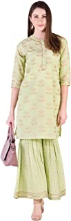 Khushal K Women's Cotton Printed Kurta With Sharara Palazzo Set