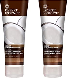 Desert Essence Coconut Hand & Body Lotion - 8 Fl Oz - Pack of 2 - Nourishing - Hydrates & Softens Skin - Essential Oils - Rejuvenate - Shea Butter - Jojoba Oil - Daily Skin Care - Tropical Extracts