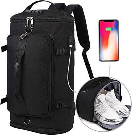 Travel Backpack, Outdoor Duffle Bag with Shoe Compartment, Waterproof Hiking Camping Rucksack for Men and Women