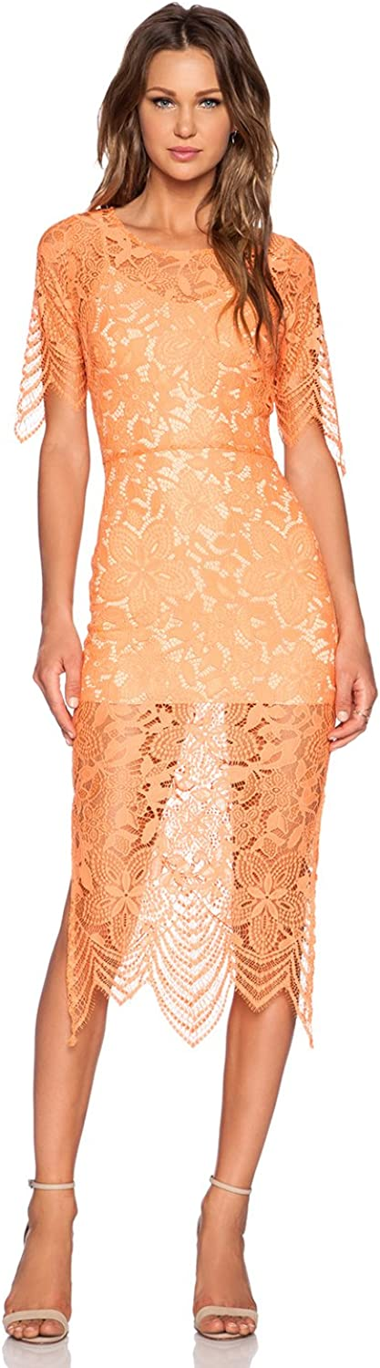 Denovelty Women's Crochet Lace Backless Evening Cocktail Party Sheath Dress