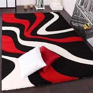 Designvloerkleed Met Contoursnede Golfpatroon Rood Zwart Wit, Maat:160x230 cm