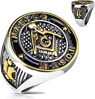 Gold and Black Masonic Symbol Casting Ring in Stainless Steel - Available in Sizes 09 to 13