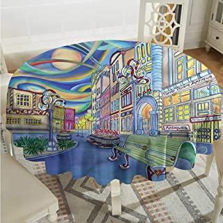 Tim1Beve Abstract Tablecloth for Kids/Childrens Downtown Seattle Urban for Events Party Restaurant Dining Table Cover D70 INCH
