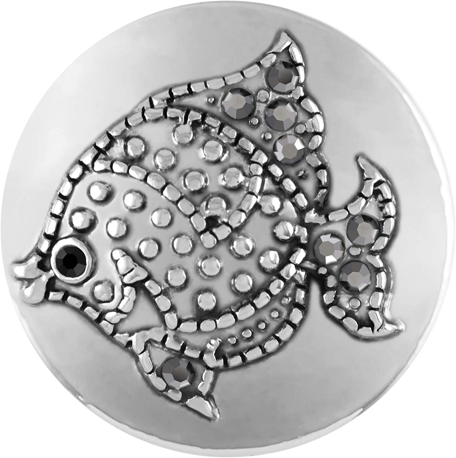 Ginger Snaps Argent Fish Charm Accessory | Interchangeable & Adjustable Snap Jewelry Collection | Button Charms for Necklaces Bracelets | Standard Size | SN21-26 | Valentine's Day Gift