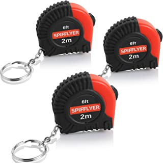 Spifflyer 3 Pack Small Tape Measure Keychain Mini Measuring Tape Retractable 6ft 2M, Metric and Inch