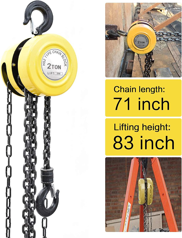 Boshen Chain Hoist Manual Chain Block Pulley Hoist with Hook Hand ...