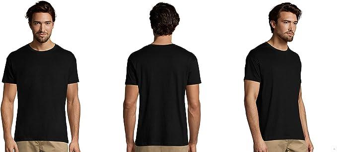 MARNAULA Pack 5 o 10 Camisetas Negras 100% Algodon Unisex