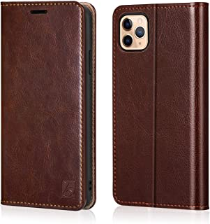 Belemay iPhone 11 Pro Wallet Case, iPhone 11 Pro Case, [Genuine Cowhide Leather Case] Slim Folio Book Flip Cover Card Holder Slots, Kickstand, Cash Pockets Compatible iPhone 11 Pro (5.8-inch), Brown