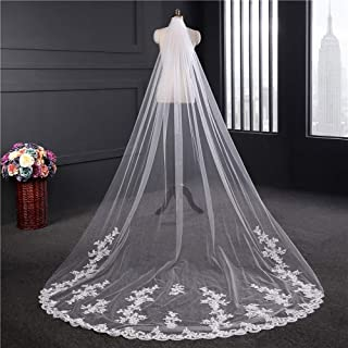 Wedding Veil,Bridal Veil Long Trailing Veil Elegant Lace Edge Soft Tulle Cathedral Wedding Veil with Crystal Comb