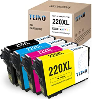 TEINO Remanufactured Ink Cartridges Replacement for Epson 220 220XL T220XL use with Epson Workforce WF-2750 WF-2760 WF-2630 WF-2650 WF-2660 XP-420 XP-320 (Black, Cyan, Magenta, Yellow, 4-Pack)
