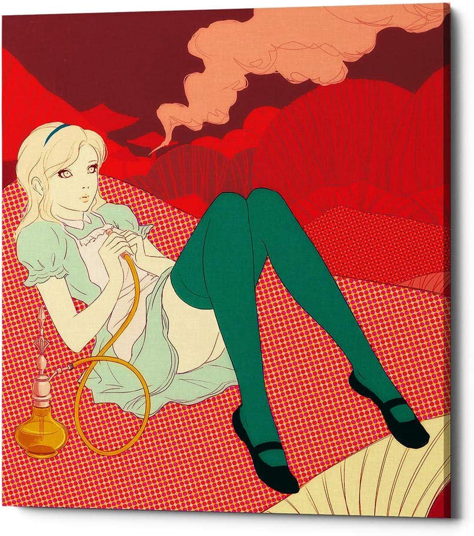 Epic Graffiti  Alice Smoking by Sai Tamiya Gisele Canvas Wall Art, 20  X 24 , Red