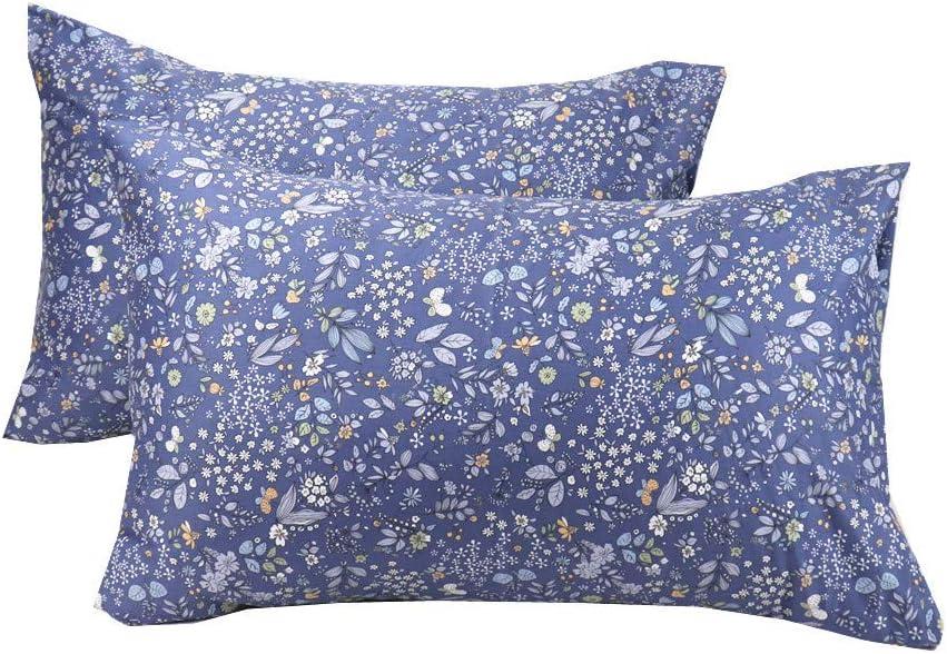 WBYCOTBED Year-end gift Blue free Botanical Standard Size 100% 2 Set Pillowcase of