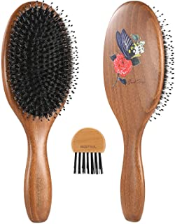 BESTOOL Boar Bristle Hair Brush with Nylon Pin, One of the Best Hair Brushes for Women, Men or Kids Long Thick Curly Hair,...