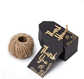 WRAPAHOLIC Gift Tags with String - 100PCS Black Kraft Thank You Paper Tags with 100 Feet Natural Jute Twine for Wedding, Baby Shower, Party Favors