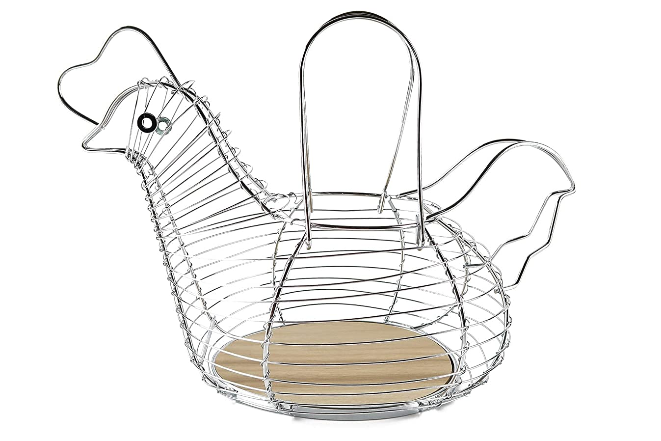 Chrome Steel Wired Egg Basket with Wood Base, Holds 15-20 Eggs, Medium Size