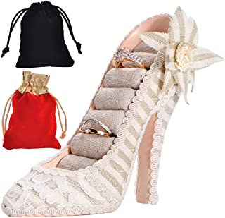 High Heel Shoe Ring Holder Fashion Lace High Heels Ring Display Organizer Stand with Flower 7 Slots Rings Jewelry Decorative Box for Wedding Bridal Shower Anniversary Party Gift, Free Velvet Bag