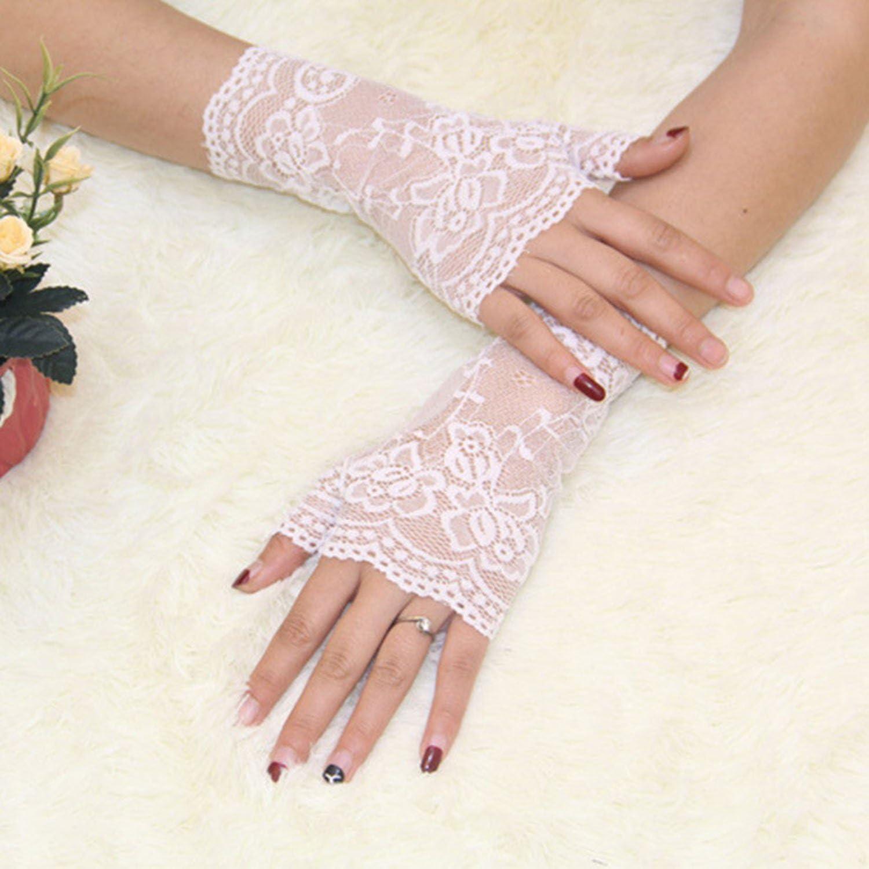 KLgeri Womens Short Fingerless Bridal Gloves Floral Lace New Wedding Party Glove