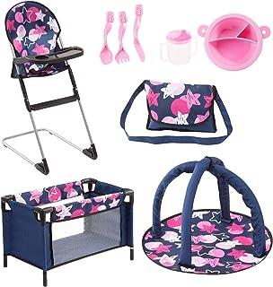 Bayer Design 61769AB Ensemble 9 en 1 pour des poupées avec une chaise haute, un sac, une assiette avec couverts et gobelet...