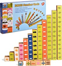 BOHS Wood Rainbow Montessori Number Rods - Visual Math Concepts - Counting,Addition,Subtraction ,Fraction - Preschool Lear...
