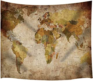 SPXUBZ Wall Tapestry World Map Decor Old Globe Design Wall Hanging Decoration Soft Fabric Tapestry Perfect Print for House Rooms