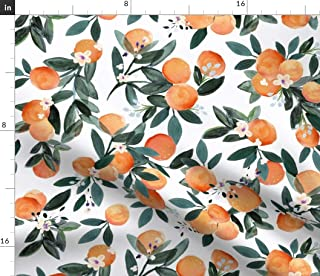 45 Inch Cotton Fabric By The Yard ZBC8423A Leaf Print Home Decor Fabric Dressmaking Fabric Quilt Material Orange Fabric