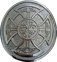 Round Celtic Knot Kilt Belt Buckle/Highland Belt Buckle Celtic Antique/Chrome (Silver)