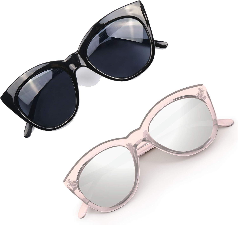 Hoyee Eyes Women Sunglasses Mirrored Lens Cat Eye UV Predection Lightweight & Unbreakable Frame