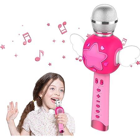 KOMVOX Karaoké Micro Enfant pour Chanter, Micro Karaoke Enfant, Cadeau de d'anniversaire Idéal pour Les Reine des Neige Filles, Jouets pour Filles de 3 4 5 6 Ans