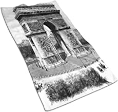 YABABY Beach Towel Polyester Washcloths 27.5 X 17.5 in, Old Photo of Auguste Vitu Monument in Paris French Heritage Retro Picture,for Travel,Beach,Swimming,Bath,Camping,and Picnic.