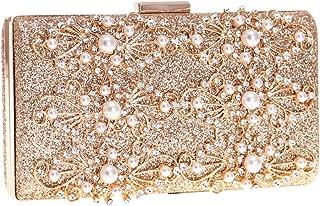 TWTAI Ladies Rhinestone Crystal Flash Glossy Banquet Evening Bag Fashion Artificial Pearl Wedding Celebration Clutches Bag Chain Shoulder Messenger Bag for Women (Color : Gold)