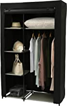 """Homebi Clothes Closet Portable Wardrobe Durable Clothes Storage Non-Woven Fabric Wardrobe Storage Organizer with Hanging Rod and 6 Shelves,41.73""""W x 17.72"""" D x 65.35""""H (Black)"""