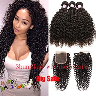 SIDO Kinky Curly 3 Bundles of Brazilian Human Hair with Lace Closure Bundles of Brazilian Hair Virgin Human Hair Kinky Curly(12+14+16 with 10)