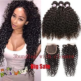 SIDO Kinky Curly 3 Bundles of Brazilian Human Hair with Lace Closure Bundles of Brazilian Hair Virgin Human Hair Kinky Curly(12+14+16 with 10)