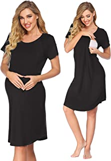 Sponsored Ad - ELOVER Pregnant Pajamas for Women Labor/Delivery/Nursing Hospital Gown Maternity Breastfeeding Nightgowns w...