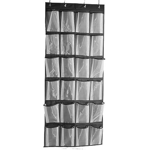MISSLO 24 Large Mesh Pockets Heavy Duty Hanging Over the Door Shoe Storage, Black