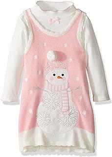 Bonnie Jean Girls Snowman Gingerbread Man Winter Holiday Jumper Dress Set