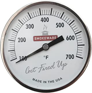 SmokeWare Temperature Gauge – 3-inch Face, 0-700°F Range, White, Replacement Thermometer for Big Green Egg Grills, Made in The USA