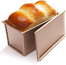 CHEFMADE Non-stick Bread Loaf Baking Pan with lid, Covered Corrugate Cookware Aluminum Steel Bakeware Loaf Pan Gold