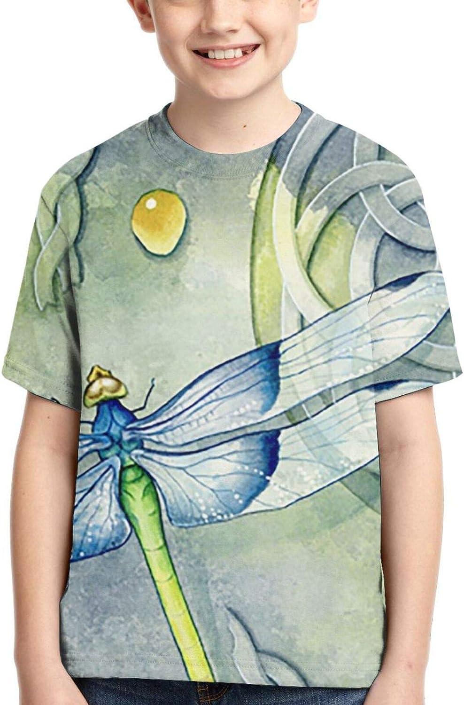 Jiulong Short-Sleeve Cartoon Dragonfly Tee Shirts for Kids, Casu