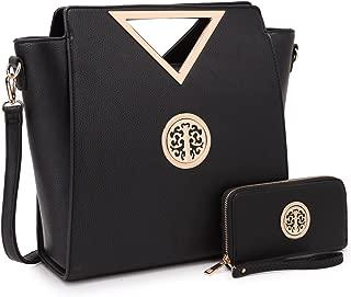Dasein Women Handbag Cut Out Triangle Top Handle Bag Large Tote Bag Fashion Work Satchel Purse