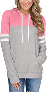 PINKMSTYLE Color Block Hoodies for Women Cute Long Sleeve Shirts Drawstring Lightweight Pullover Sweatshirt with Pocket