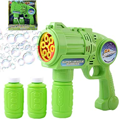 pepape Bubble Gun ,Children Automatic Bubble Maker Blower Machine, with 2 Bottles Bubble Refill Solution (120ml) , Used for B