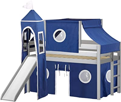 JACKPOT! Castle Low Loft Bed with Slide Blue & White Tent and Tower, Loft Bed, Twin, Gray