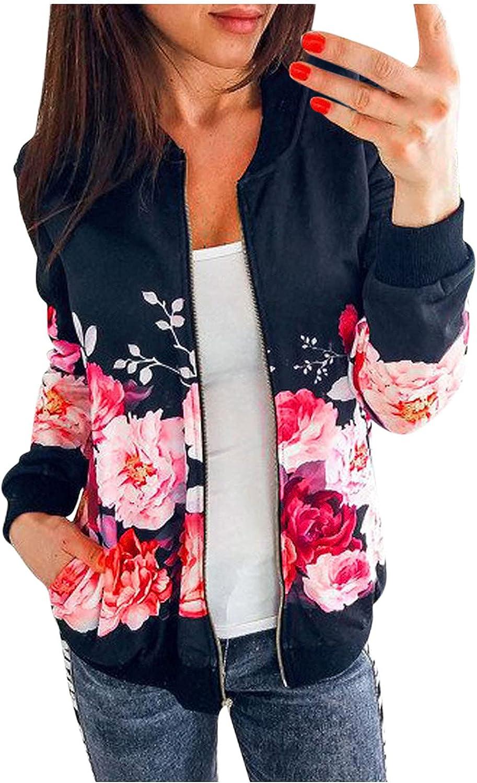 USYFAKGH Women's Ladies Retro Floral Printing Zipper Up Jacket Casual Tops Coat Outwear mens coats winter sale
