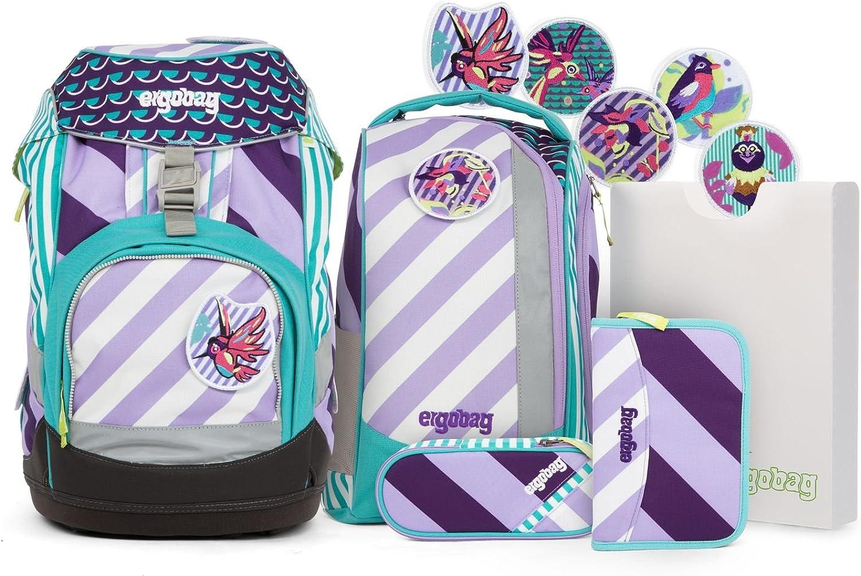 ERGOBAG Pack Set Stripes Schulranzen-Set, 35 cm, 20 L, Mutige Mdchen lila Streifen