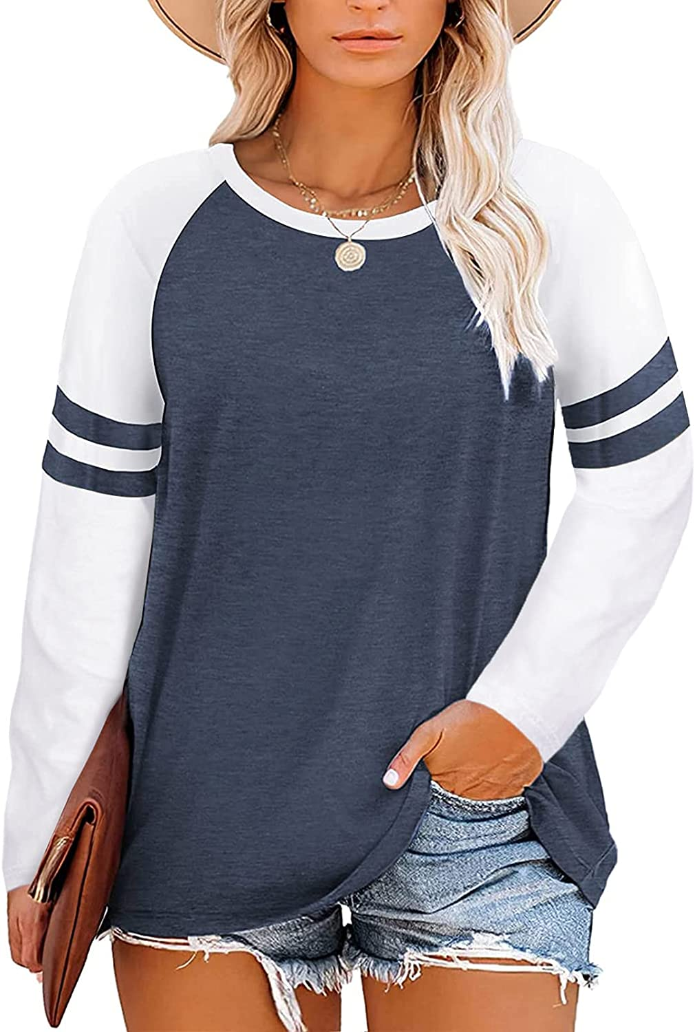 ROSKIKI Womens Casual Plus Size Color Block T-Shirt Summer Short Sleeve Blouse Tops